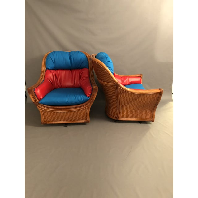 Mid-Century Modern 1960s Mid Century Modern Maguires Style Red and Blue Upholstered Rattan and Bamboo Outdoor Swivel Chairs - a Pair For Sale - Image 3 of 11