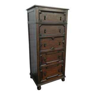 Late 1800s Mission Arts and Crafts Tiger Oak Highboy For Sale