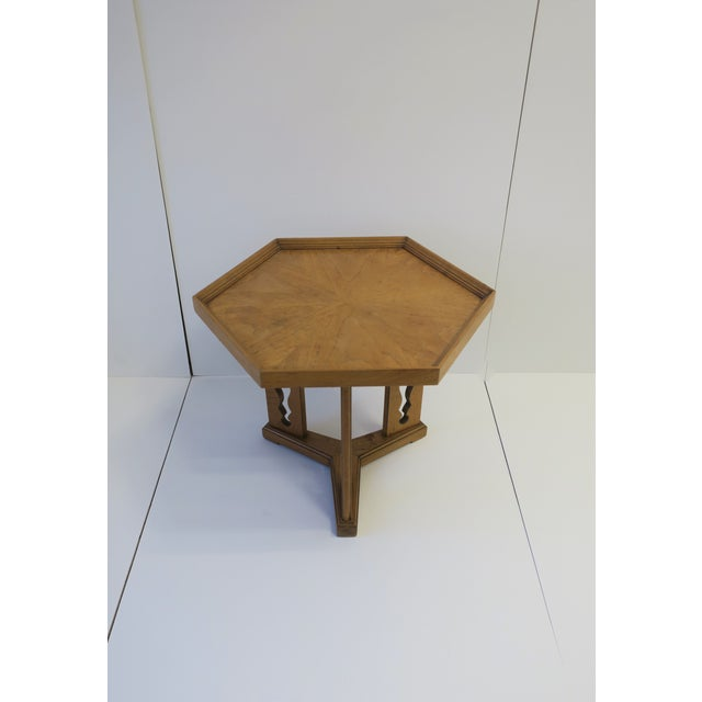Traditional Hexagon Wood Side or End Table Esperanto by Drexel For Sale - Image 3 of 13