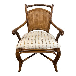 Palecek Cane Back Arm Chair For Sale