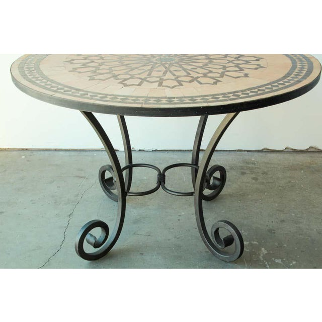 Moroccan Mosaic Outdoor Tile Table in Fez Moorish Design For Sale In Los Angeles - Image 6 of 11