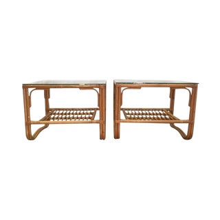 1970s Hollywood Regency Bamboo Rattan Bentwood End Tables - a Pair For Sale