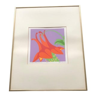 Vintage Abstract Mid-Century Modern Floral Signed Serigraph Print For Sale
