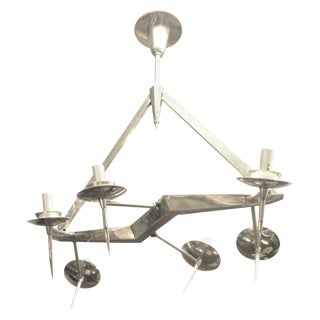 Mid-Century Polished Nickel Six-Light Chandelier, Yonel Lebovici For Sale