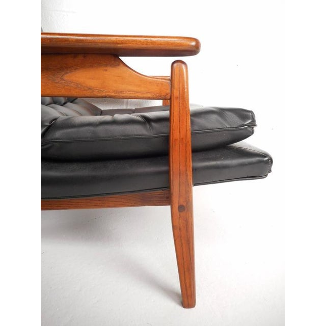 Mid-Century Modern Tufted Vinyl Lounge Chair and Ottoman - Image 8 of 10