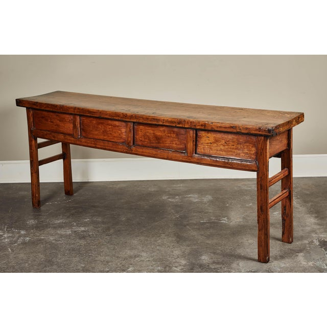 19th C. Chinese Elm Four Drawer Altar Table For Sale - Image 4 of 10