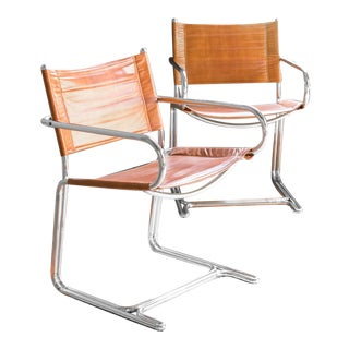 1970s Vintage Mid-Century Modern Vegan Leather Chairs - a Pair For Sale