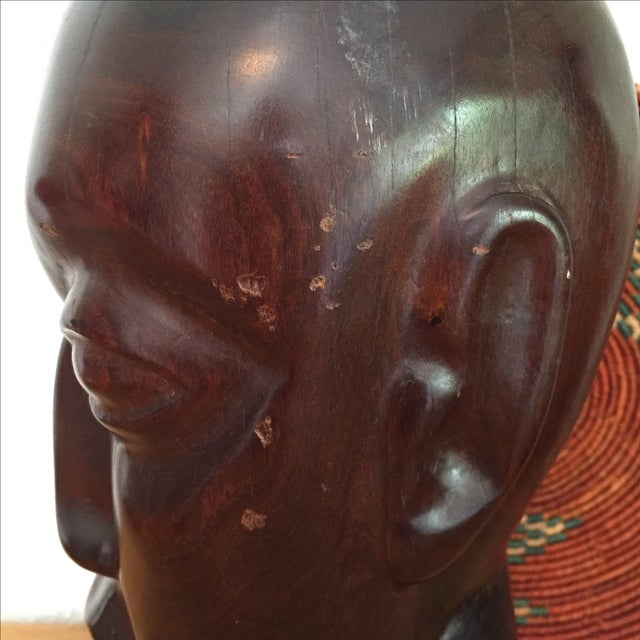 Vintage Hand Carved Ironwood Bust Sculpture For Sale - Image 7 of 9