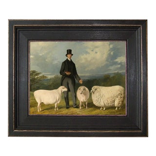 Three Sheep Framed Oil Painting Reproduction Print on Canvas For Sale