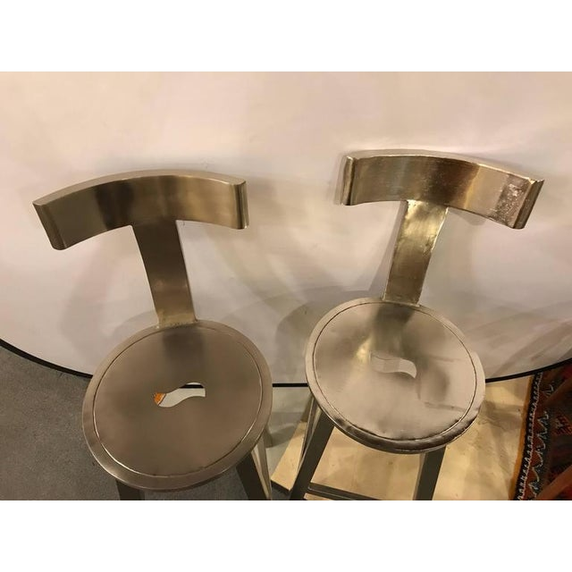 Silver A Pair of Deco Style Steel Bar Stool For Sale - Image 8 of 12