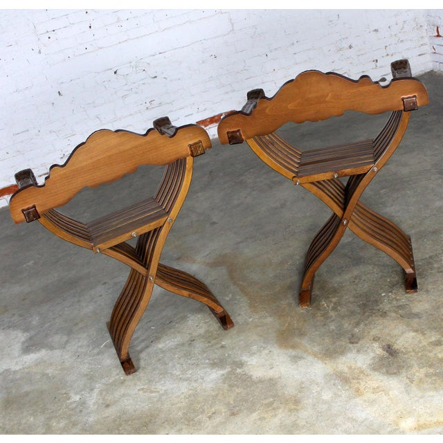 Walnut Savonarola Chairs with Carved Lion Head Arms - A Pair For Sale - Image 5 of 11