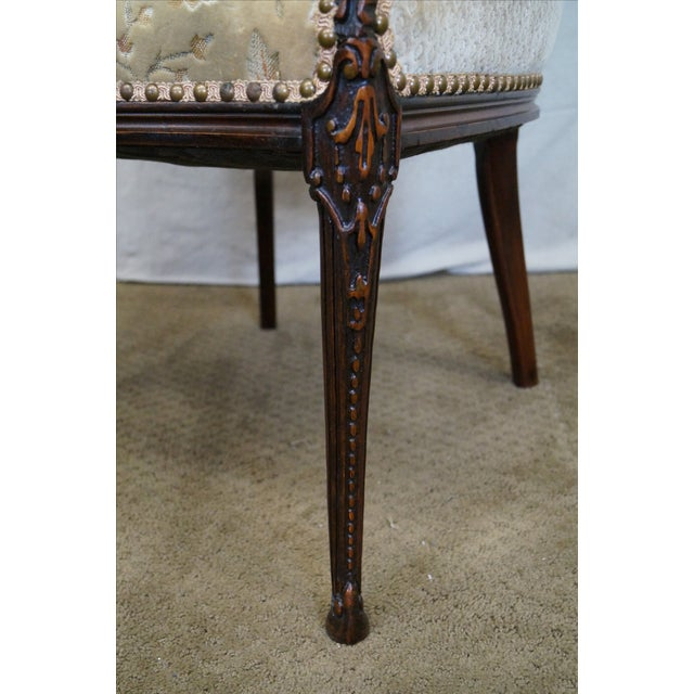 Vintage Mahogany Carved Fire Side Host Wing Chairs - Image 6 of 10