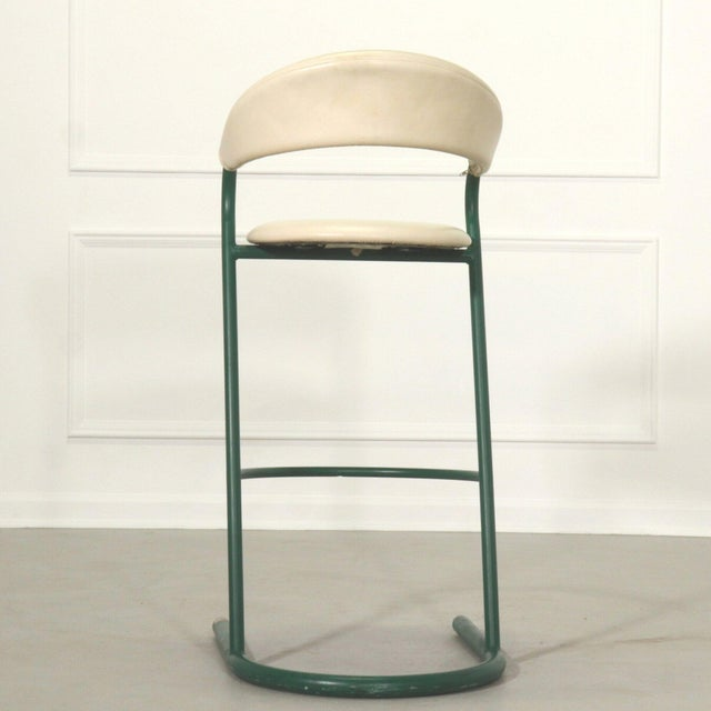 1970s Green Cantilever Tubular Bar Stools - Pair For Sale - Image 5 of 8