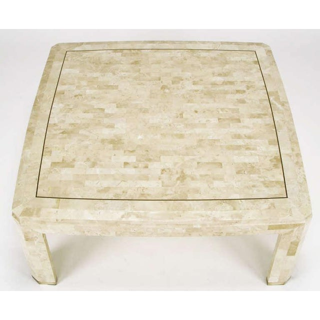 Tessellated Fossil Stone & Brass Inlaid Coffee Table For Sale - Image 4 of 7