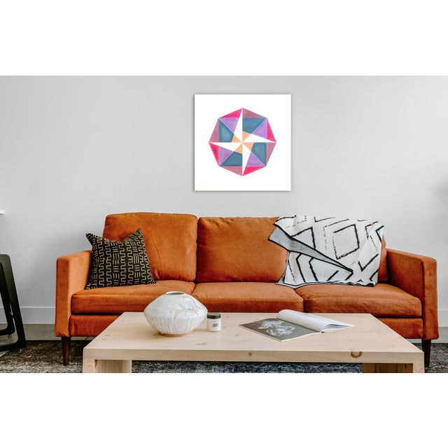 """Abstract """"Fuchsia to Coral"""" Pink Geometric Painting by Natasha Mistry For Sale - Image 3 of 4"""