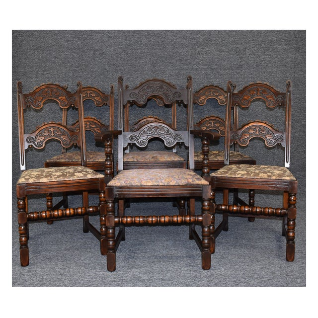 Vintage Solid Carved Dark Oak Jacobean Chairs- Set of 6 For Sale - Image 11 of 11