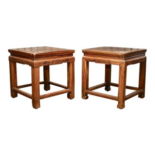 19th Century Chinese Elmwood Ming Style Stretcher Side Tables - a Pair For Sale