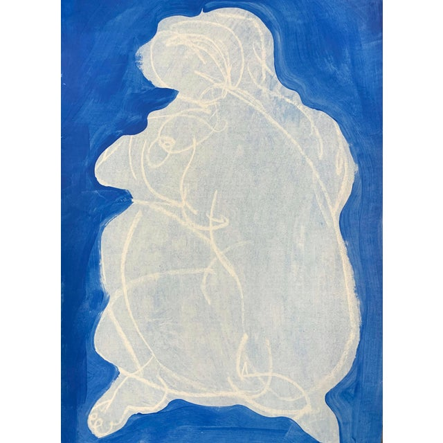 Abstract Figurative Drawing 'Ali in Blue V' 12x18 For Sale - Image 3 of 3