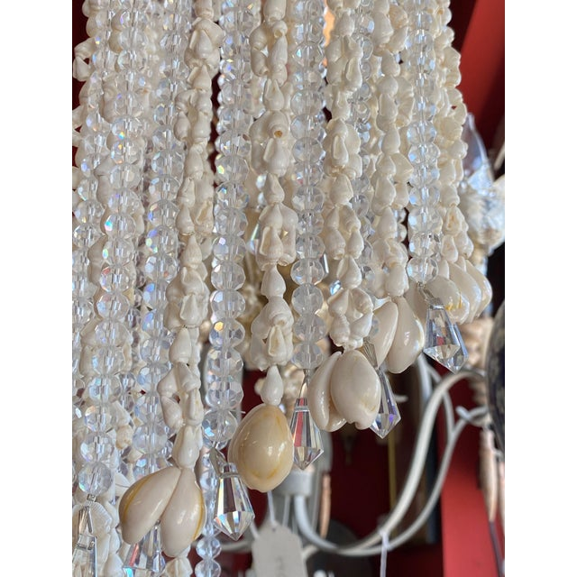 """French 64"""" Crystals and Shells 9 Light Coastal Chandelier For Sale - Image 12 of 13"""