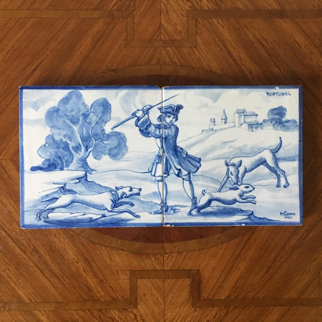 White Vintage Portuguese Blue and White Tiles-A Pair For Sale - Image 8 of 8