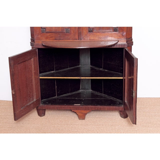 Brown 18th Century Continental Mahogany Corner Cabinet For Sale - Image 8 of 10
