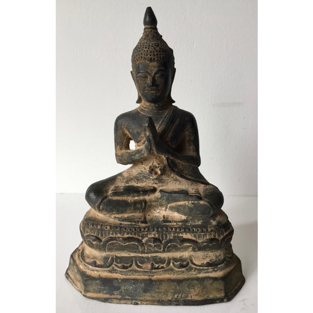 Vintage Iron Seated Buddha Sculpture For Sale - Image 10 of 11