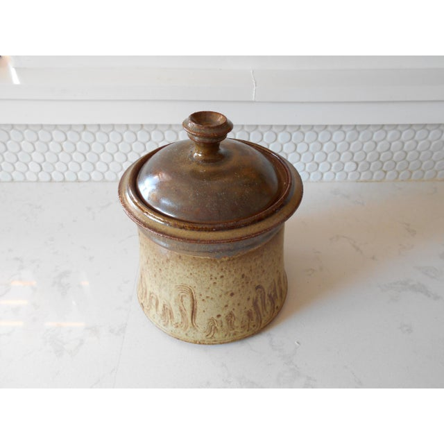 Covered Pottery Canister - Image 3 of 6