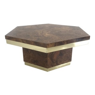 1980s Burlwood and Brass Coffee Table For Sale