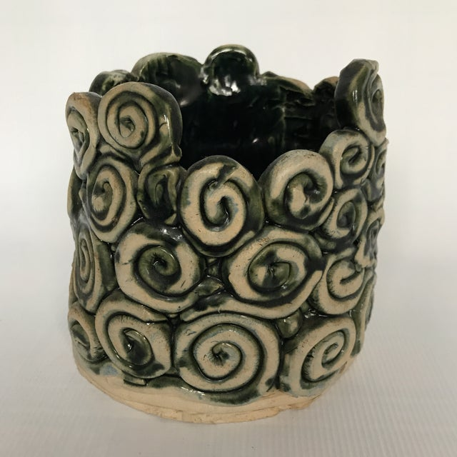 Green Green Glazed Swirl Pottery Cachepot For Sale - Image 8 of 8
