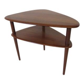 Peter Hvidt Teak Tiered Side Table Denmark For Sale
