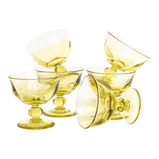 Viking Glass Stemmed Lime Dessert Cups - Set of 6 For Sale
