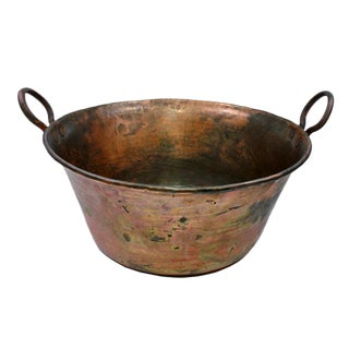 19th Century Copper Cauldron With Handles For Sale