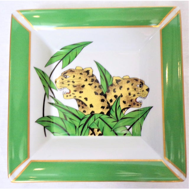 1990s Vintage Philippe Deshoulieres Limoges Leopard Porcelain Trinket Tray / Catchall For Sale - Image 5 of 10