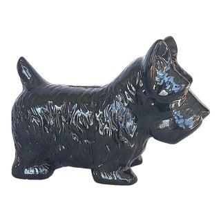 1960s Ceramic Scottie Dog Figurine Coin Bank For Sale