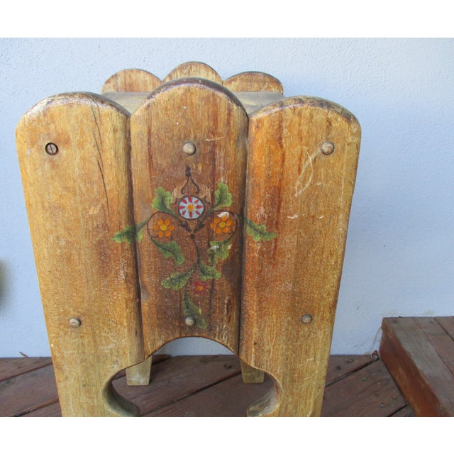 Tan 1940s Antique Farmhouse Wood End Table Monterey Rustic Style For Sale - Image 8 of 10