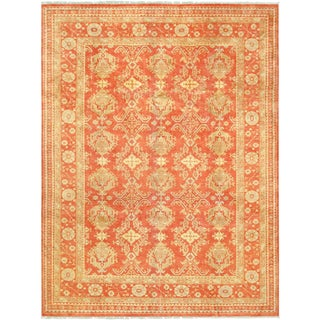 "Pasargad Oushak Orange & Gold Lamb's Wool Area Rug - 10' 2"" X 13' 7"" For Sale"