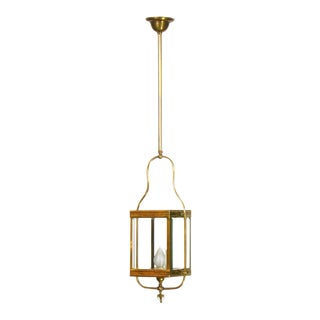 Square Lantern with Clear Beveled Glass For Sale