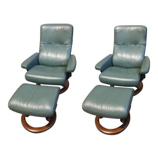 """Vintage Leather"""" Stressless"""" Chairs With Ottomans - Set of 4 For Sale"""