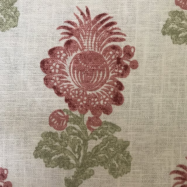 7 1/2 Yards of Thibaut Fabric Pattern ALDITH Printed Fabrics Colorway Red and Green Collection Chestnut Hill Units US...
