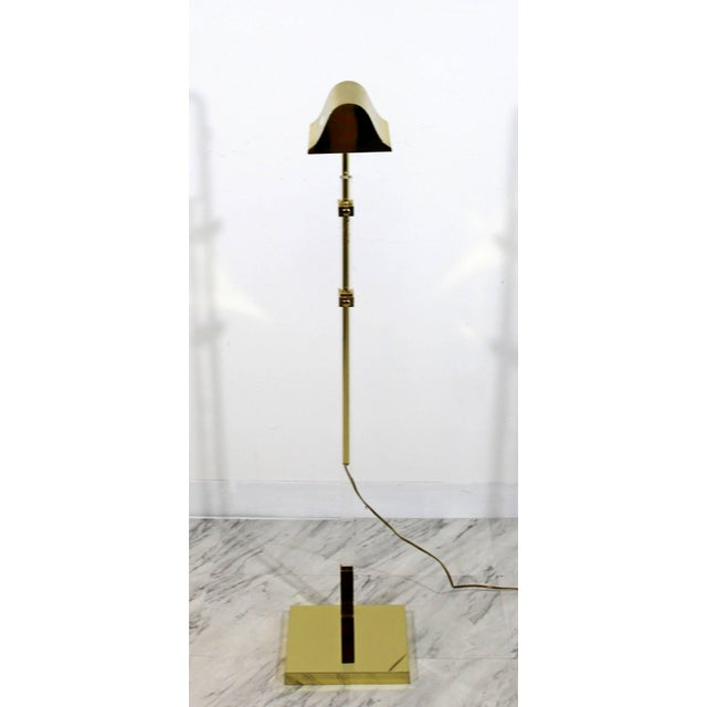 Mid-Century Modern Mid-Century Modern Brass and Lucite Adjustable Floor Lamp Bauer Kovacs Era For Sale - Image 3 of 9