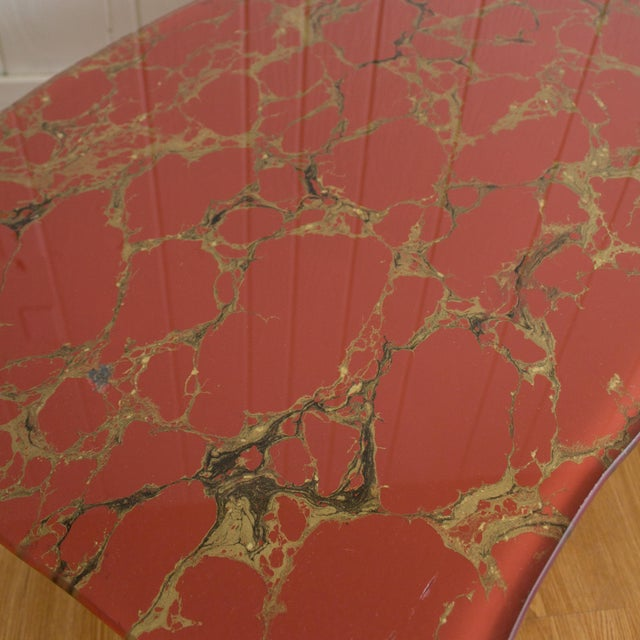 Chippendale Hollywood Regency Coffee Table | Cabriole Legs Marbled Red Glass For Sale - Image 3 of 13