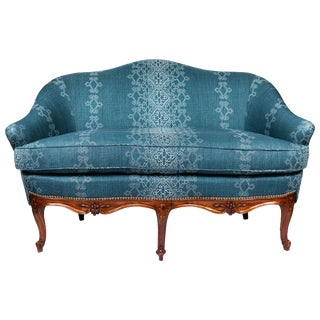 1940s Settee With Three Queen Anne Style Front Legs and Carvings For Sale