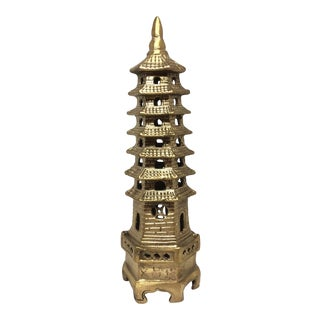 Metal Chinoiserie Pagoda Statue For Sale
