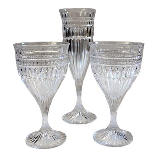 Vintage Titan Crystal Wine Glasses and Champagne Flute by Mikasa - Set of 3 For Sale