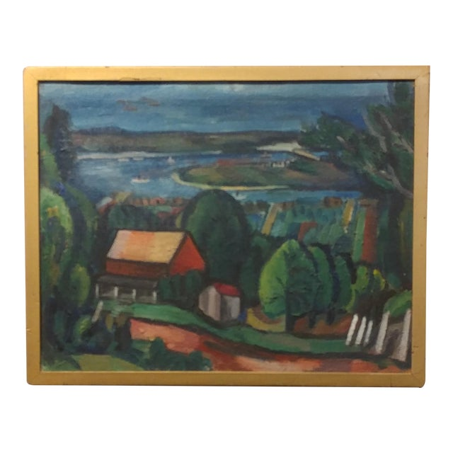 Jean Liberte - Picturesque Village Over a Lake Landscape Original Oil Painting For Sale