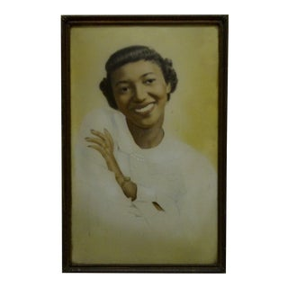 "Circa 1920 Vintage ""Pretty Black Woman"" Bubble Glassed Framed Photograph For Sale"