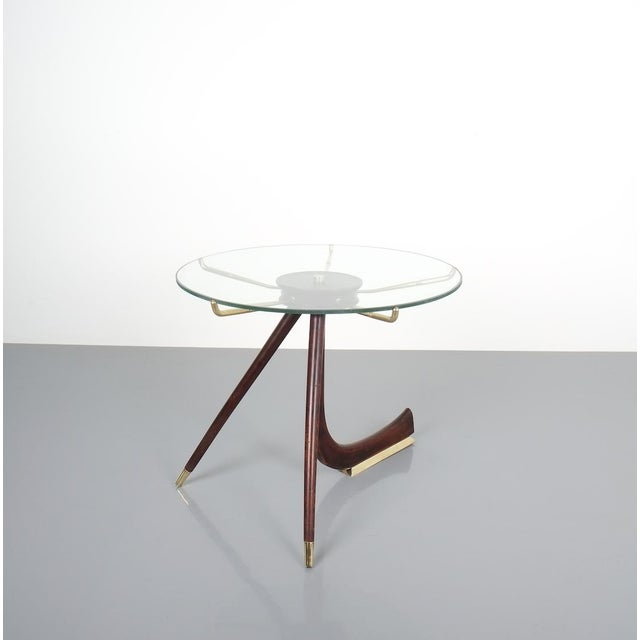 Italian Brevettato Wood Brass Coffee or Side Table, Italy 1955 For Sale - Image 3 of 12