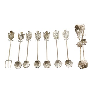 Filigree Turkish Silver Tongue/Spoons/Fork Pieces - Set of 8 For Sale