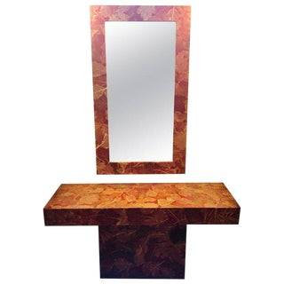 MCM Gold Leave Design Decoupage Painted Console Vanity With Matching Mirror For Sale