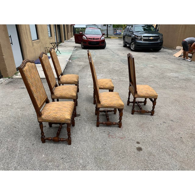 1900s French Louis XIII Style Solid Walnut Dining Chairs - Set of 6 For Sale - Image 9 of 13